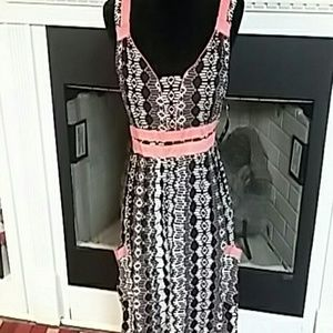 NWT Brown/coral fitted bodice sun dress